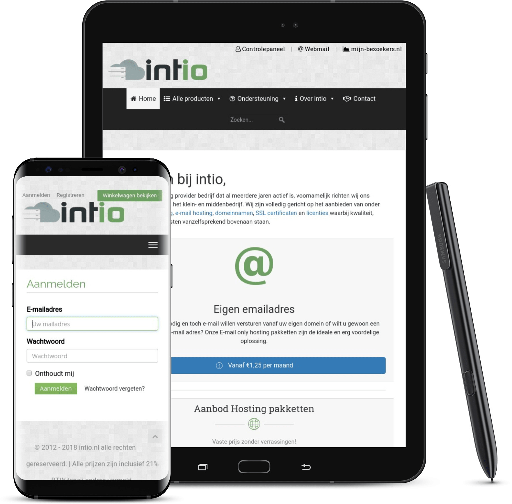 intio hostingpakketten aanbod